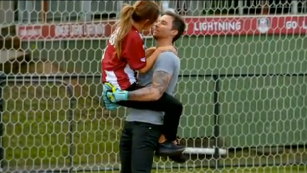 Sam shows Michael up on the soccer field.