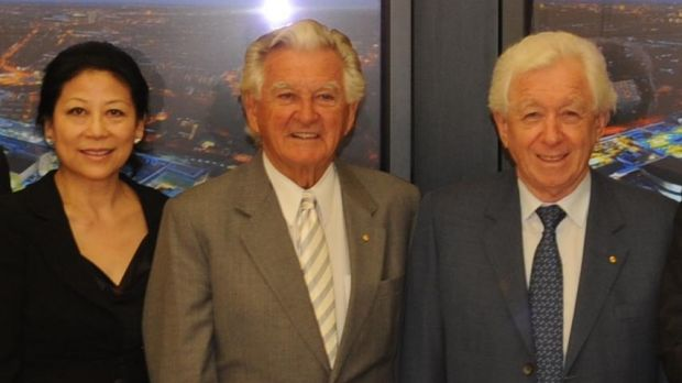 Sheri Yan with Bob Hawke and Frank Lowy.