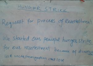 A notice explaining the decision of the hunger strikers, all of whom have been found to be genuine refugees by the UNHCR.