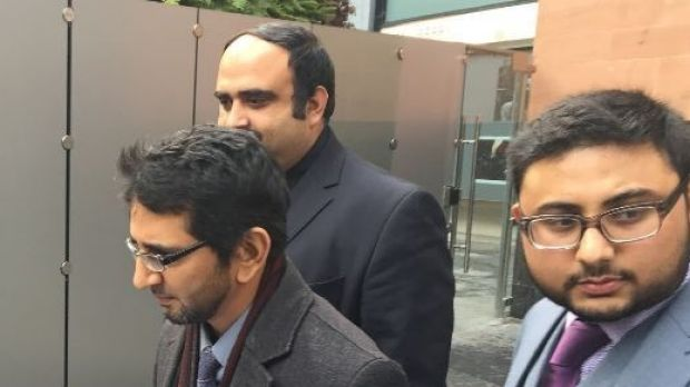 Nasir Hafezi speaks outside Manchester Magistrates Court after representing his client.