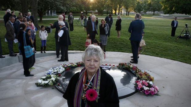 Shirley Shackleton at the war correspondents memorial in Canberra