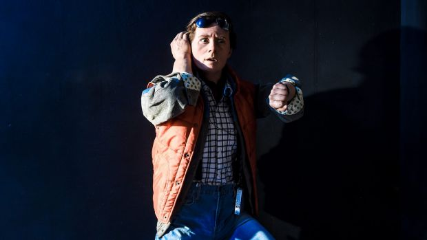 It looks like Marty McFly (Michael J. Fox) but it's a high-tech silicone version.