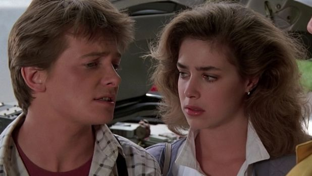 Back to the past: youthful-looking Michael J. Fox and Claudia Wells in the film.