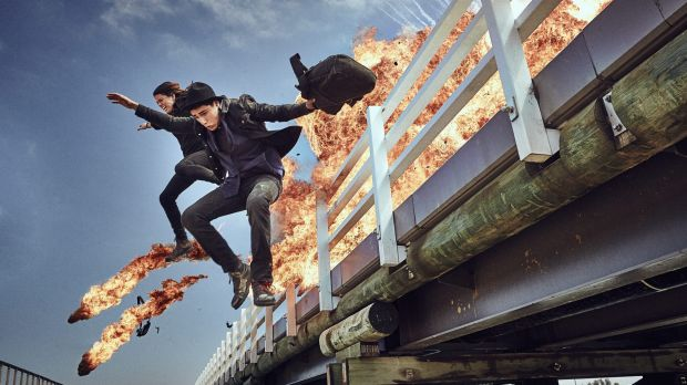 Molly Daniels and Narek Arman jump from the Barwon Heads bridge on the set of the ABC TV series <i>Tomorrow When the War ...