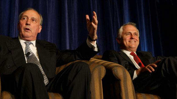 Prime ministers Paul Keating and Malcolm Turnbull.