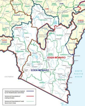 Proposed boundary changes to the federal seat of Eden-Monaro.