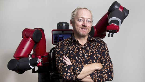 UNSW Professor Toby Walsh with a much friendlier, industrial robot called Baxter. The professor was a major driving ...