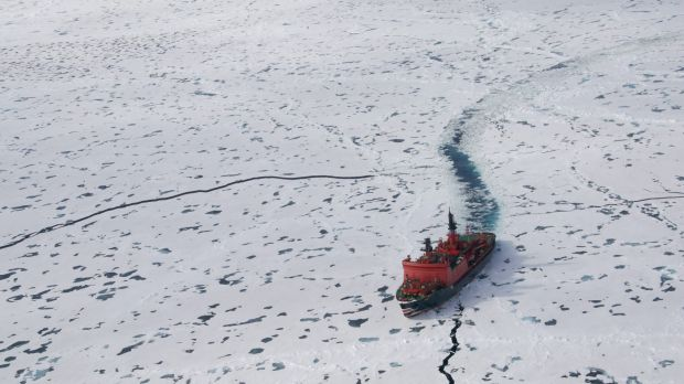 The Russian nuclear icebreaker Yamal in the Arctic Ocean.