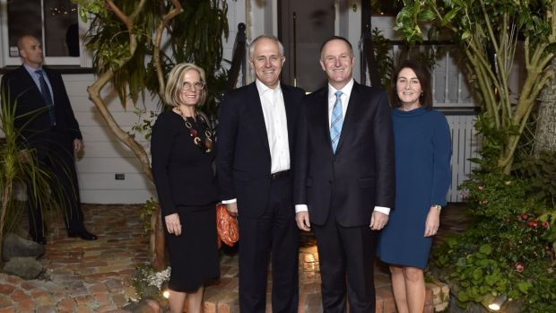 Malcolm and Lucy Turnbull with John Key and his wife Bronagh before going to dinner in Auckland.