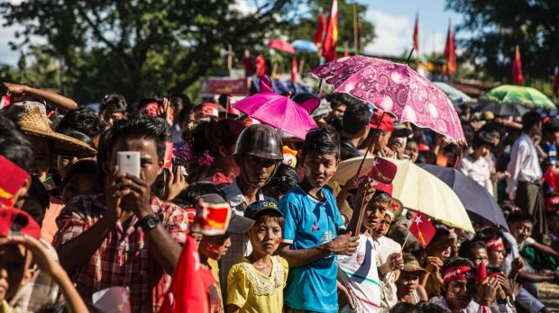 National League for Democracy supporters line up to see Aung San Suu Kyi earlier this month in Rakhine, Myanmar. The ...