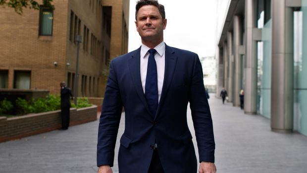 Chris Cairns arrives at Southwark Crown Court in London on Friday.