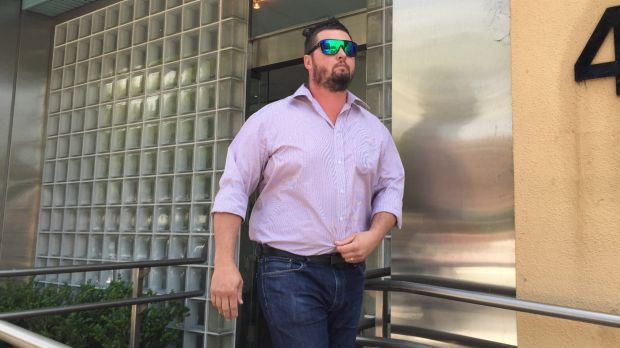 Arborist Nathan Stokes leaves the NSW Coroner's Court after giving evidence.