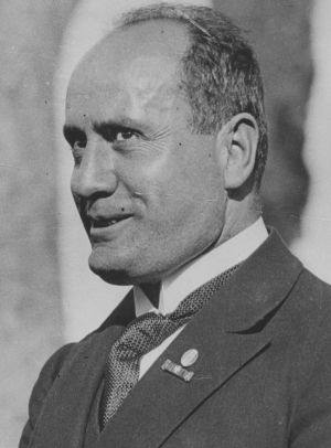 Benito Mussolini, master of the bombastic speech and jutting jaw and the impossible-to-fulfil promises.
