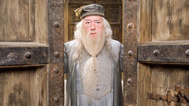 "Dumbledore (Gambon) was the ""moral heart"" of the books, Rowling said."