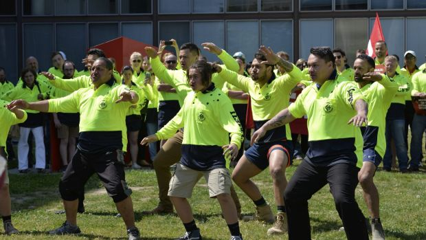 CFMEU members perform the haka outside the Magistrates Court.