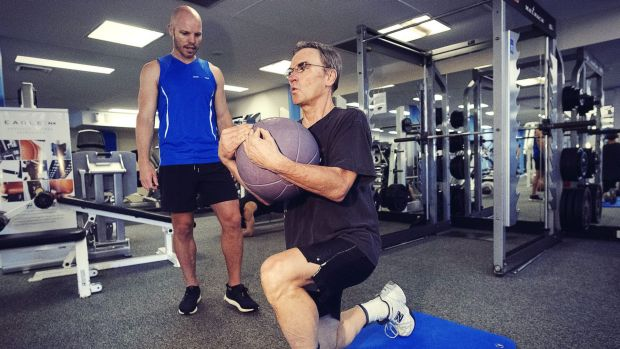 Greg Medcraft working out at Moore Park Gym with his trainer. Have we mentioned that he is fit?