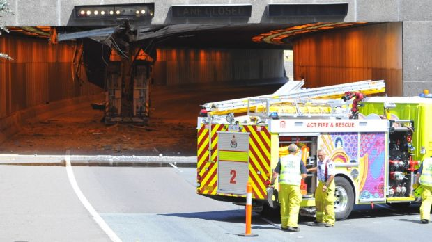 An excavator on the back of a truck hit the roof of the westbound Acton tunnel in October.