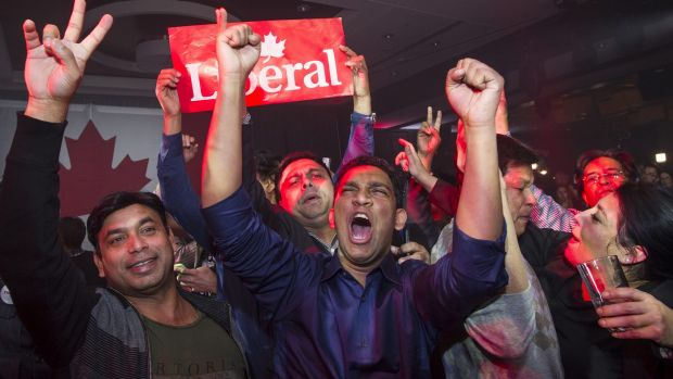 Supporters of Justin Trudeau celebrate as results come in on election night in Montreal, Quebec.