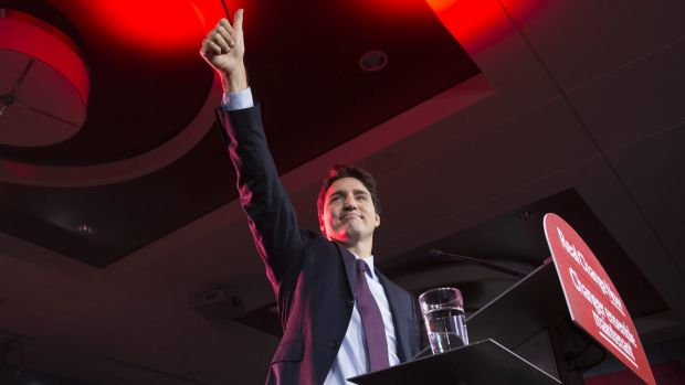 Canadian Liberal leader Justin Trudeau at the party headquarters in Montreal on Tuesday after becoming Prime Minister by ...