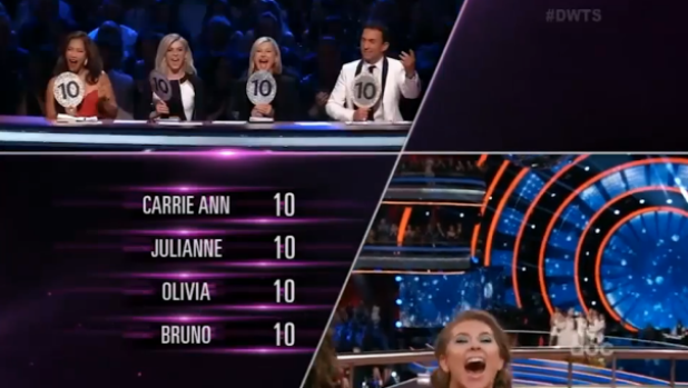 The judges give their perfect scores to an elated Bindi Irwin.