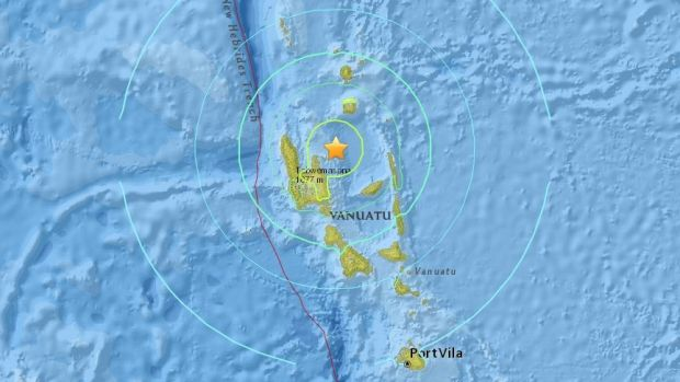 The epicentre of the quake that hit Vanuatu on Wednesday morning.