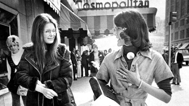 Steinem (at left) in Denver in 1974 with Colorado's first congresswoman, Pat Schroeder.