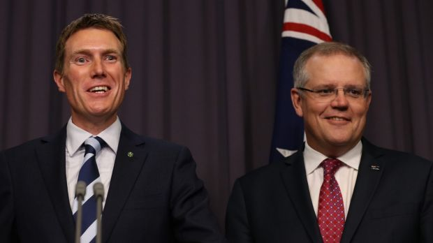 Treasurer Scott Morrison and Social Services Minister Christian Porter on Wednesday.