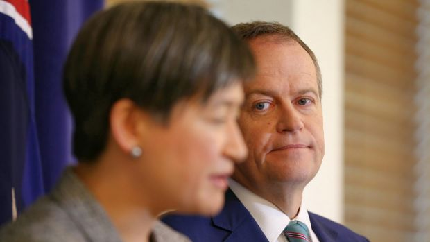 Opposition Leader Bill Shorten and opposition trade spokeswoman Penny Wong announce Labor's support for the trade deal.
