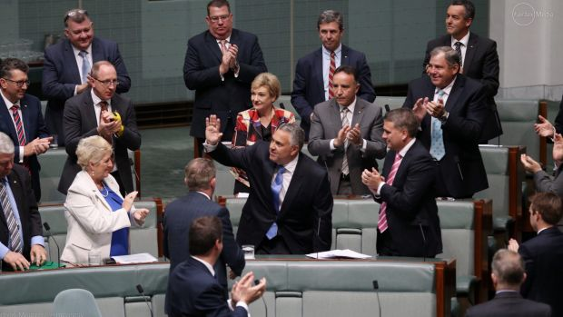 Mr Hockey receives a standing ovation from colleagues upon his farewell speech.