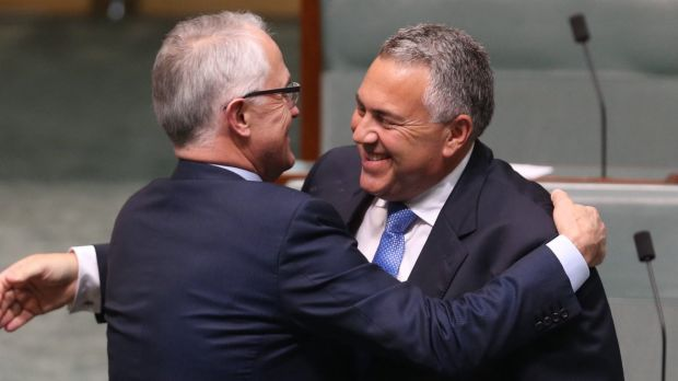 Prime Minister Turnbull embraces former treasurer Joe Hockey after his valedictory speech on Wednesday.