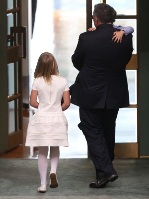 Former treasurer Joe Hockey leaves the House after his valedictory speech with son Iggy and daughter Adelaide.