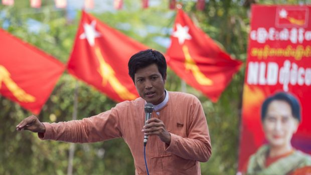 Thaung Htay Lin, a candidate of Myanmar's opposition leader Aung San Suu Kyi's National League for Democracy party in ...