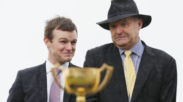 Trainer David Hayes and son Ben, celebrating their win with Almoonqith in the Geelong Cup, are hoping for a favourable ...
