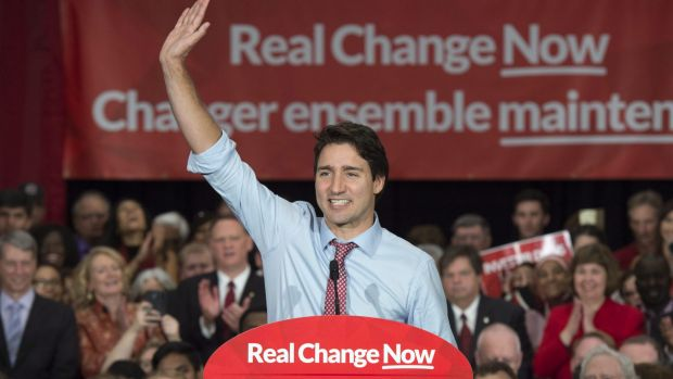 Canadian Prime Minister-elect Justin Trudeau sweeps to victory.