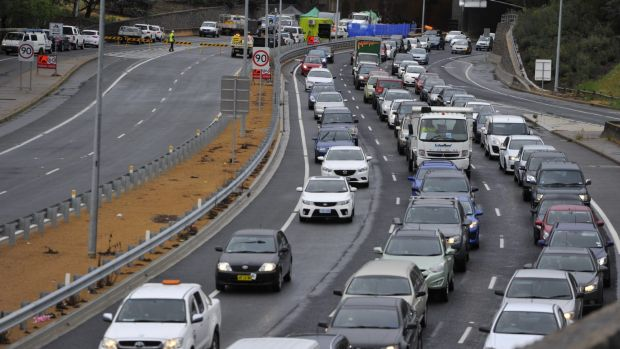 Heavy traffic on Parkes Way after the Acton tunnel crash in 2015: Infrastructure Australia says the ACT needs to build ...