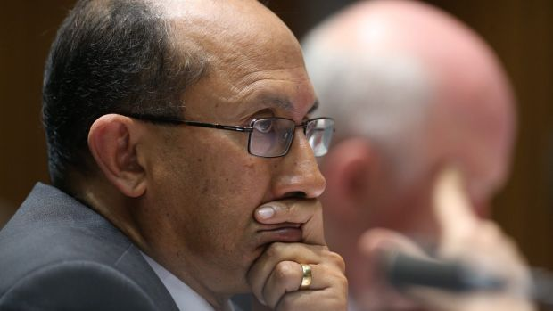 DFAT secretary Peter Varghese in estimates hearings during which Senator Penny Wong asked about Foreign Minister Julie ...