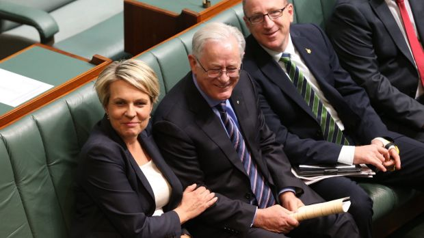 Deputy Labor leader Tanya Plibersek with Trade Minister Andrew Robb after the opposition voted with the government to ...