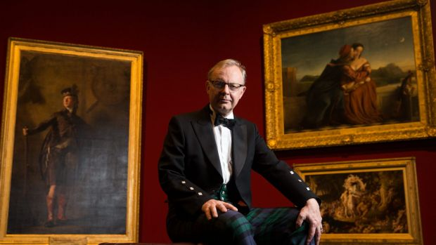 Michael Clarke, Director of the Scottish National Gallery, wearing the National Galleries of Scotland tartan. An ...