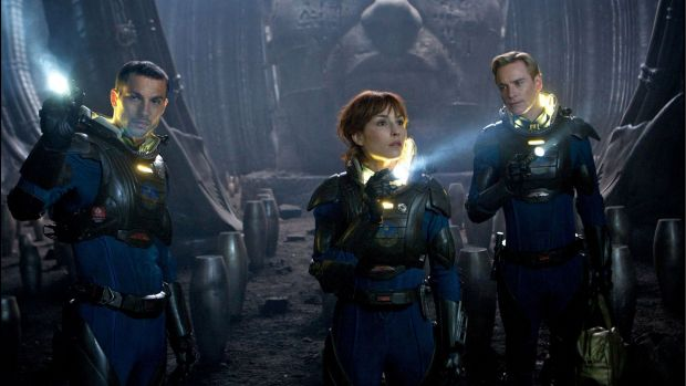 Danger lurks ... Logan Marshall-Green, Noomi Rapace and Michael Fassbender in <em>Prometheus</em>.