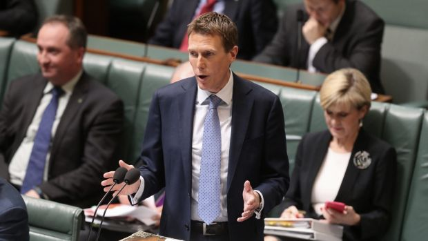 Social Services Minister Christian Porter during question time at Parliament House.
