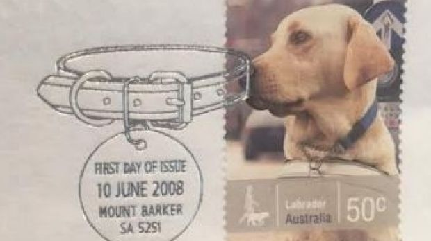 Woof woof. Mount Barker selected as the national postmark for this 2008 series on working dogs. Taken at Max Stern & Co.