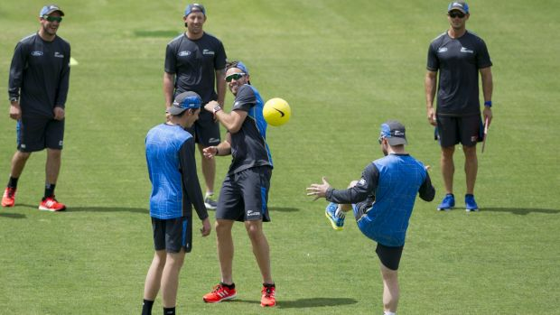 New Zealand players have some fun at training before the Prime Minister's XI clash on Friday.