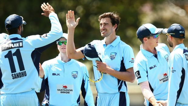 All stars: Mitchell Starc and the Blues celebrate another wicket in the Matador Cup.