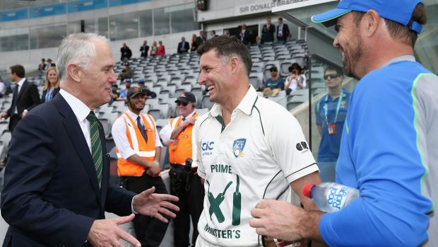 Experience: Mike Hussey (pictured with Prime Minister Malcolm Turnbull in October) is looking forward to a mentoring ...