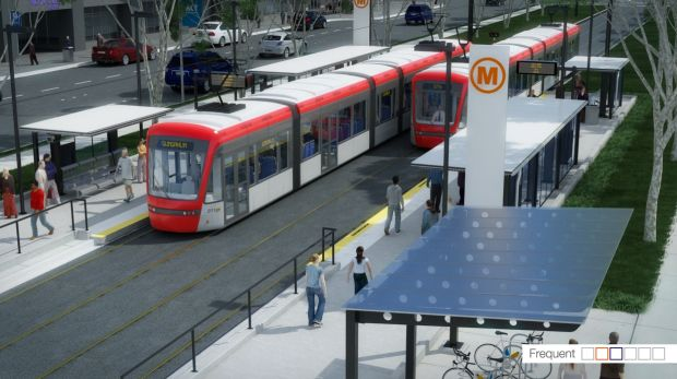 An artist's impression of the planned tram system for Canberra.