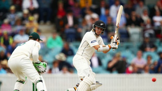 New Zealand's Tom Latham takes on the Prime Minister's XI at Manuka Oval.