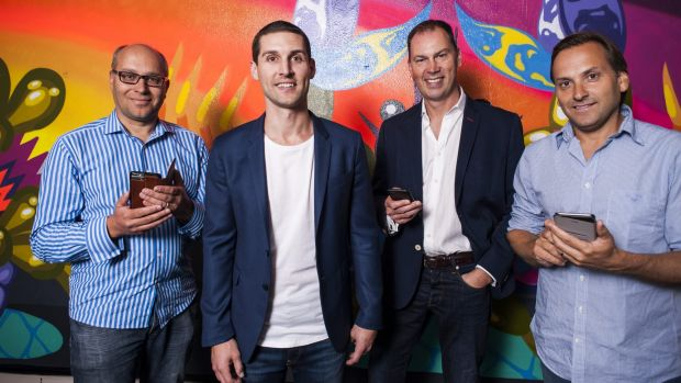 Investors in Unlockd include  Gabby Leibovich, pictured with chief executive Matt Berriman and investors Andrew Walsh ...