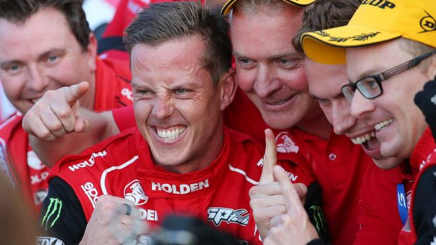 Jack Perkins and James Courtney celebrate that winning feeling at the GC600 on the Gold Coast.