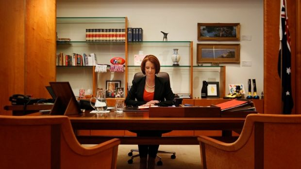 "Julia Gillard in her office as prime minister. ""I stand by the decisions I made,"" she told al-Jazeera."