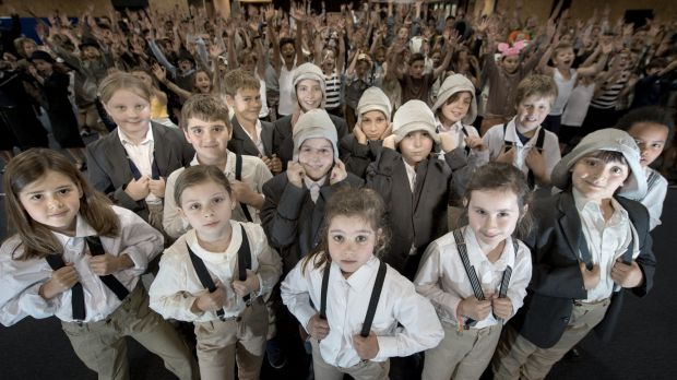 Some of the kids who play 'Lennie' in Clifton Hill Primary School's new musical about Lennie Gwyther, 9, who in 1932 ...